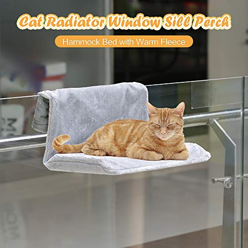 Decdeal Cat Hanging Radiator Bed Chair Cat Window Sill Perch Hammock with Removable Warm Fleece Bed Cover Pet Resting Bed Seat Lounge for Cat Puppy Kitten Dog