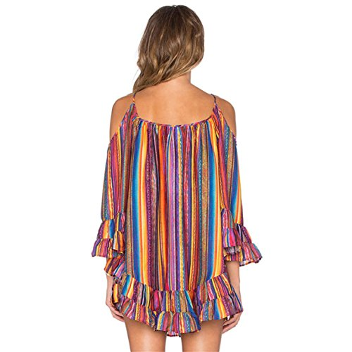 CYBERRY Fille Mini Plage Bretelle Multicolore paule M Nue Robe Ray Longues Manches Multicolore Femme rEarqwP