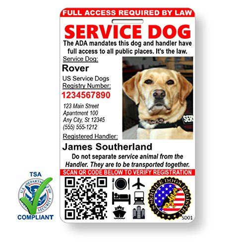 Just 4 Paws Custom Holographic QR Code Service Dog ID Card with Registration to Service Dogs Registry with Strap - Portrait Style