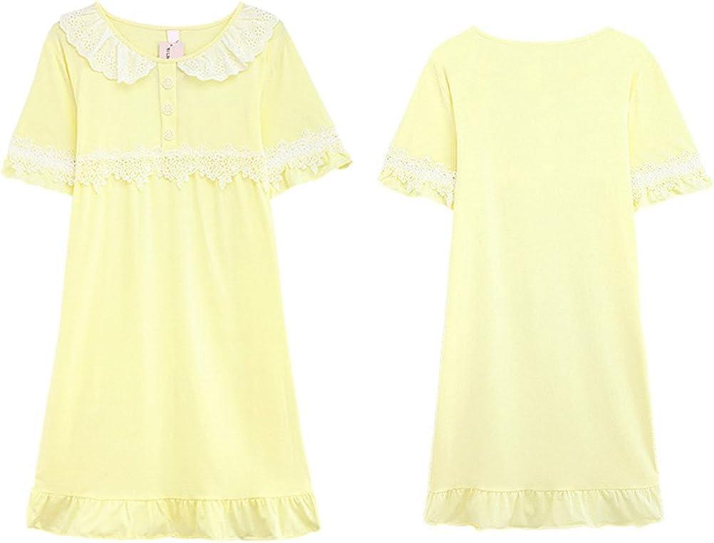 Zhhlinyuan Summer Short sleeves Sleepwear Womens Comfortable Cotton Skirt Pajama