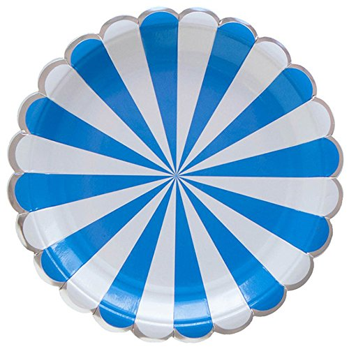 SOCOSY Scalloped Edge Stripe Paper Plates Disposable Plates Paper Dessert Snack Plate for Party Birthday Wedding 9'',Multi-color (Set of 8) Blue Snack Plate