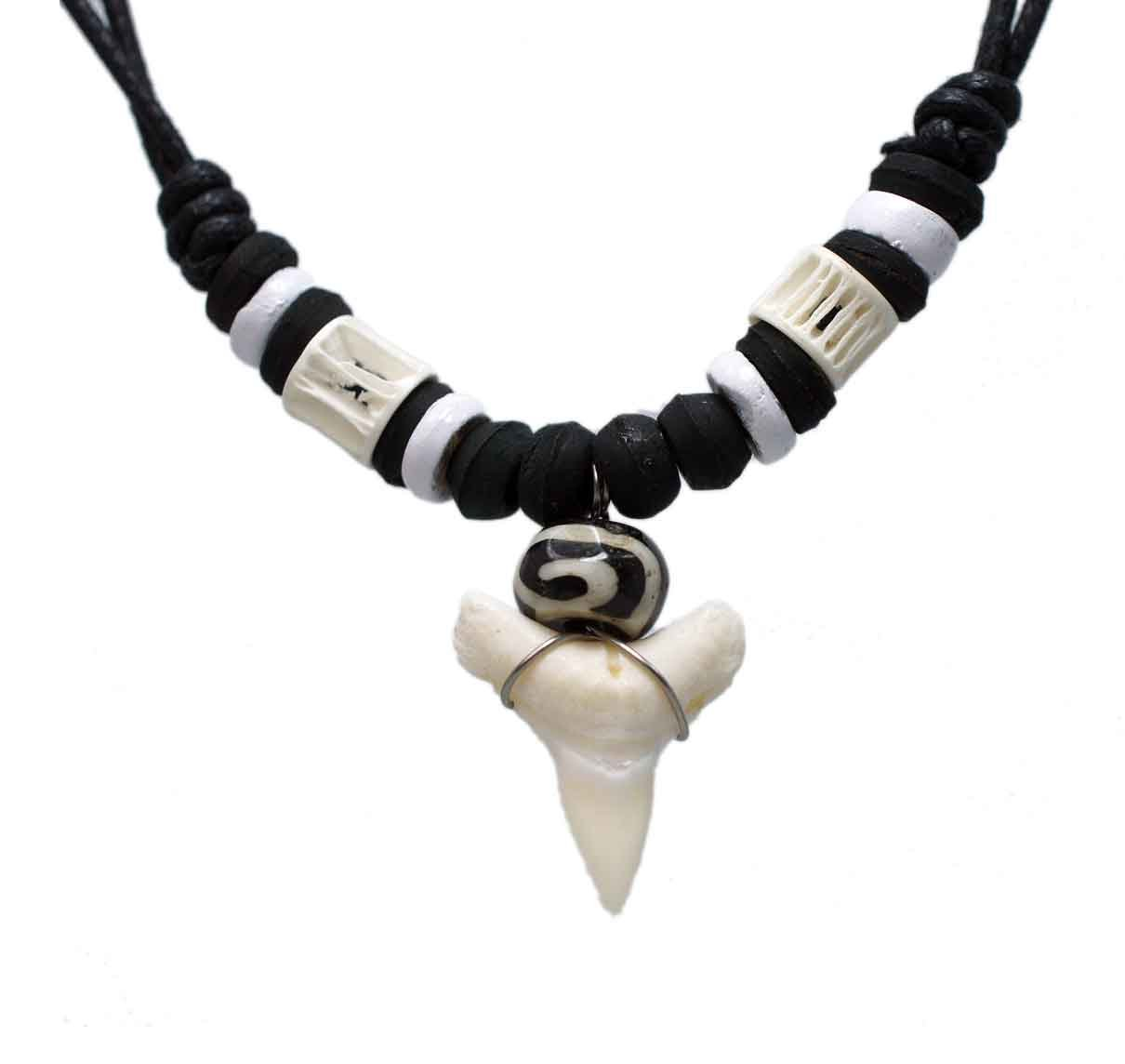 exoticdream Real Shark Tooth Necklace Surfer Hawaiian Beach Boys Girls Men - Color White Bone SHKTH0001