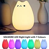 Children Night Light,SOLMORE LED Cute Silicone Cat Lamp,Kids Bedside Lights,Warm White/7-Colour Single/Color changing,USB Rechargeable,Sensitive Tap Control Fairy Light for Baby Bedroom Nursery Birthday Gif