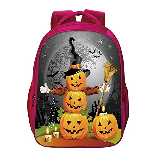 (Halloween Printing Backpack,Cute Pumpkins Funny Composition Traditional Celebration Witches Hat Broomstick for Kids)