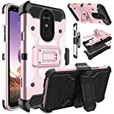 LG Stylo 4 Case, LG Stylus 4 Case, LG Q Stylo Case, Venoro Heavy Duty Shockproof Protection Case Cover with Belt Swivel Clip and Kickstand for LG Stylo 4+/LG Q Stylo +/LG Stylo 4 Plus (Rose Gold)