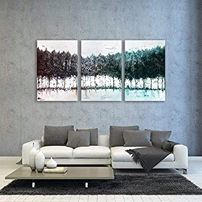 Abstract Colorful Trees x3 Panels - Canvas Art