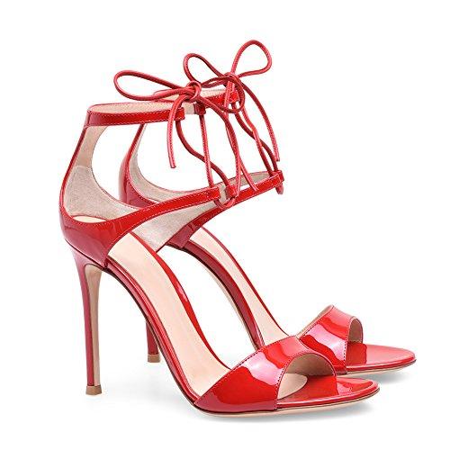 43 Mode Talon Taille Club KJJDE Sandales Haut Verni Femme Soirée Red Sexy Plateforme Mariage Grande De TLJ Transgenre Cuir Fête De A6 v1wAq1f4x