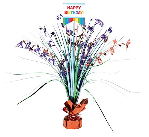 Amscan 110272 Fun Birthday Foil Spray Table Decoration Centerpiece, 1, -