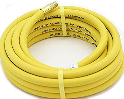 """Yellow 3/8""""x25' GoodYear/Continenal Rubber Air Hose Tool Compressor Grease USA"""