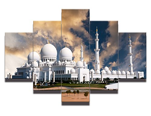 Painting on Canvas View of Sheikh Zayed mosque in Abu Dhabi at sunset Wall Art Arabic Modern Artwork Prints Home Decor for living room Pictures 5 panel HD Printed Framed Ready to hang(50''Wx24''H)