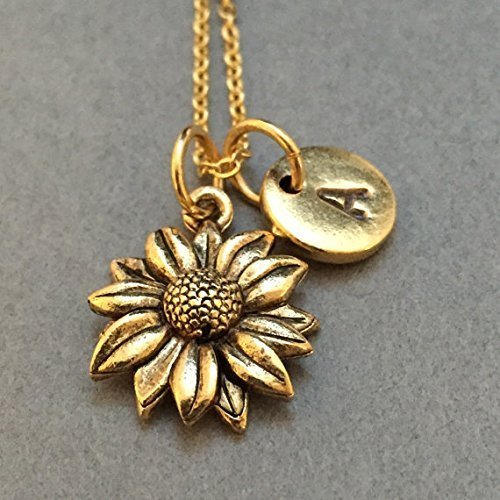 Sunflower necklace, sunflower charm, flower necklace, personalized necklace, initial necklace, initial charm, monogram