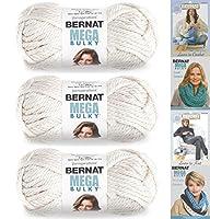 Bernat Mega Bulky, 7.0 oz 100% Acrylic Yarn 3 Pack Bundle, Jumbo #7 Acrylic