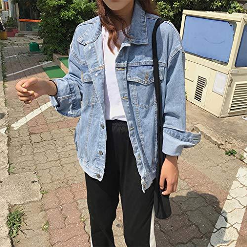 Denim Nz In Casual Lunga Blu Jeans Sciolta Giacca Da Studente Donna L Classica Blu colore Corta Manica Cappotti Dimensioni Bf CCXrq