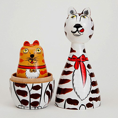 Bits and Pieces - ''Cleo & Friends Nesting Cats-Hand Painted Wooden Nesting Dolls Matryoshka - Set of 5 Dolls From 7'' Tall with Gift Box by Bits and Pieces (Image #3)