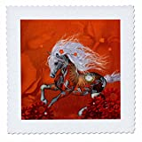 3dRose Heike Köhnen Design Steampunk - Steampunk, awesome steampunk horse with clocks and gears - 22x22 inch quilt square (qs_262382_9)