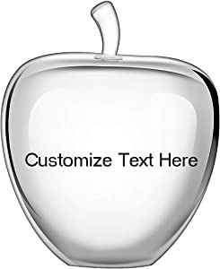 H&D HYALINE & DORA H&D Crystal Glass Apple Paperweight Home Decoration Teacher Appreciation Gifts (Clear+Customize Words)