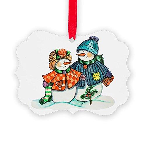 Picture Ornament Christmas Snow Couple Snow Men