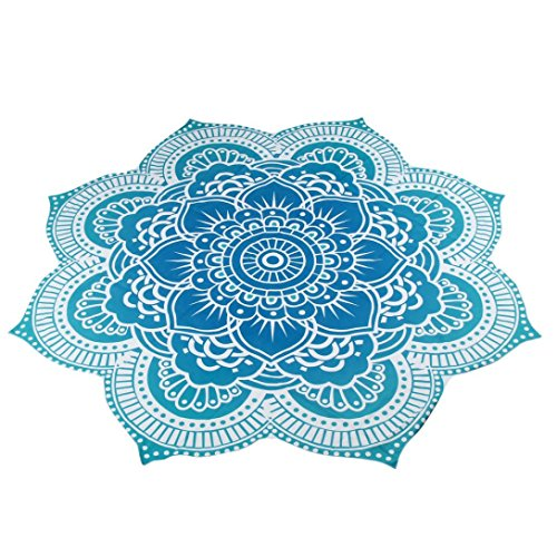 Hatop Round Beach Pool Home Shower Towel Blanket Table Cloth Yoga Mat (C) (Picnic Printed Table)