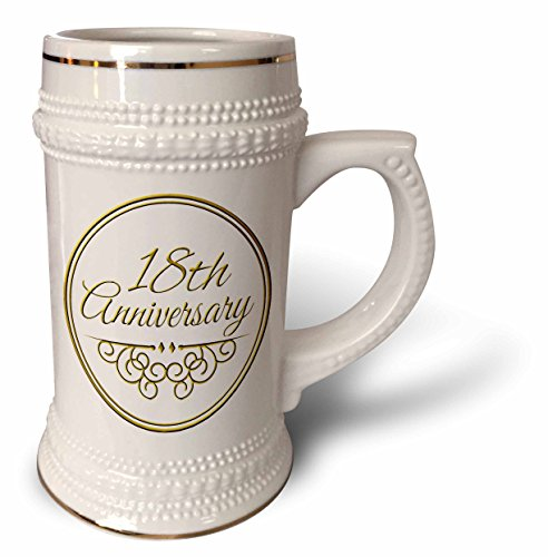 InspirationzStore Occasions - 18th Anniversary gift - gold text for celebrating wedding anniversaries - 18 years married together - 22oz Stein Mug (stn_154460_1) (Wedding Anniversary Stein)