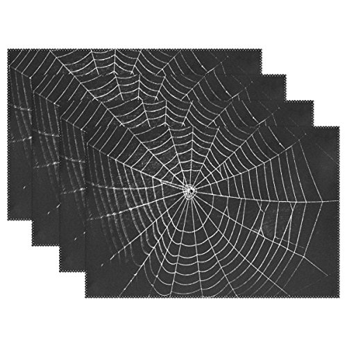 Cooper girl Halloween Spider Web Table Placemat Food Mat 12x18 Polyester For Kitchen Table ()
