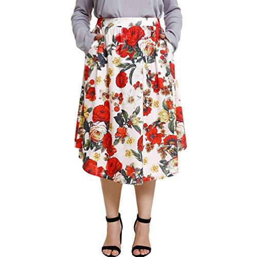 Sentaoa Femmes Rtro Jupe Imprim  Fleurs Lache avec Poche Taille Haute Jupe au Genou Patineuse au Plisse Style 1