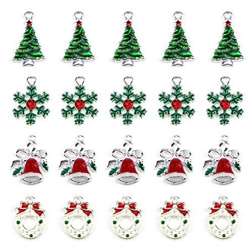 20 Pcs Assorted Enamel Charm Pendant Silver Plated Christmas Tree Snowflake Garland Bell Dainty Dangle Crafting Accessories Decorations for Necklace Bracelet Ankle Earring Jewelry DIY Making (Best Christmas Trees For Allergies)