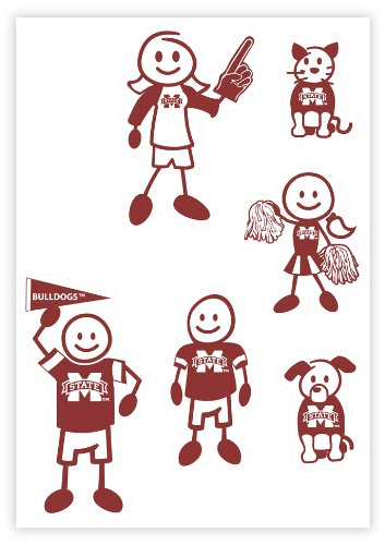 Siskiyou NCAA Mississippi State Bulldogs Small Family Decal -