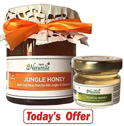 Farm Naturelle Pure Raw Forest Honey, 250g with Another Flower Honey, 40g