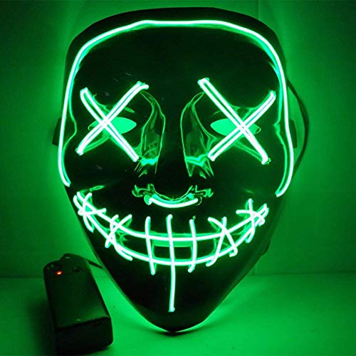ULIN Adults EL Wire Glow LED Light up Mask Scary Accessory Halloween Cosplay Festival Parties (Green)