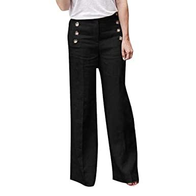d7d5650f8 Hibote Women Wide Leg Pants, Ladies Solid Color Straight Leg Trousers with  Buttons Decorated Fashion