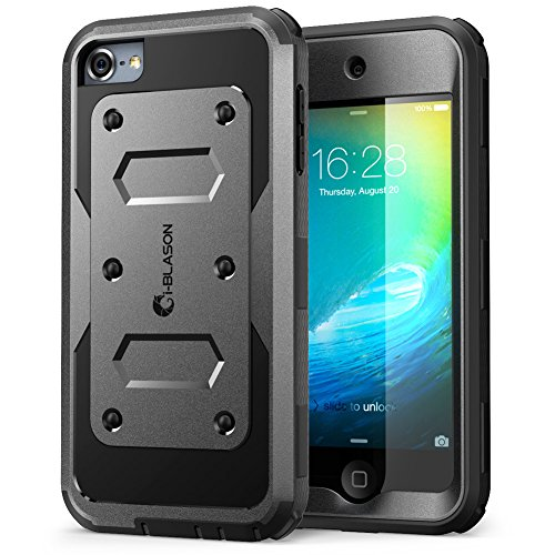 iPod Touch 6th Generation Case, [Heave Duty] i-Blason Apple iTouch 5/6 Case Armorbox [Dual Layer] Hybrid Fullbody Case with Front Cover and Builtin Screen Protector / Impact Resistant Bumper (Black)