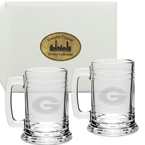 CC Glass Georgia Bulldogs Deep Etched Colonial Tankard Set of 2