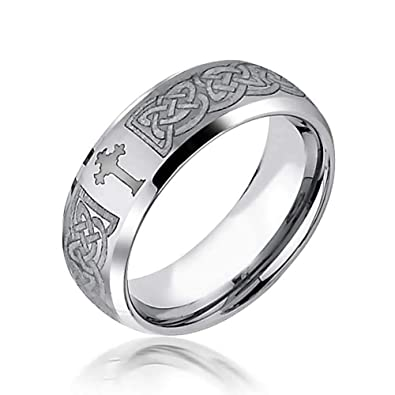 Bling Jewelry Mens Celtic Cross Infinity Knot Tungsten Comfort Fit