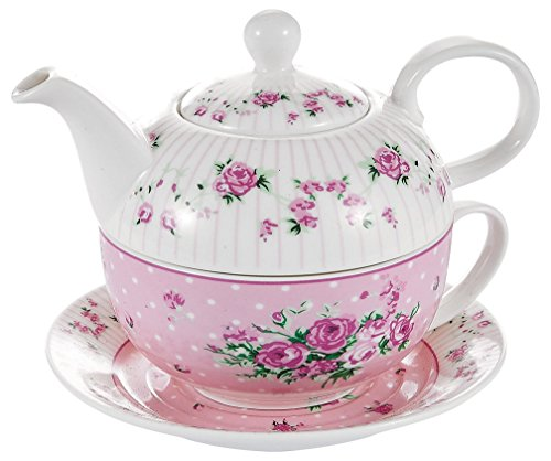 One Tea Set (Malacasa 4 Piece Series Sweet Time, Tea For One Set, Pink)