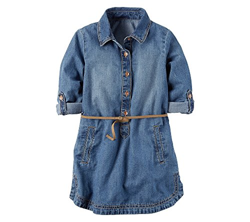 Carter's Girls' 2T-8 Belted Chambray Dress Denim 5 (Chambray Dress For Girls)