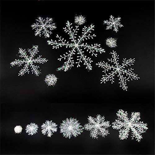 Christmas 3D Snowflake Hanging Party Decoration Ornaments with Holes and Strings, White Plastic Sparkle Snowflake, Party Supplies For Wonderland Winter, New Year, Xmas Tree, Window, Ceilling, Home Decor (4 Size, 105 Pieces)
