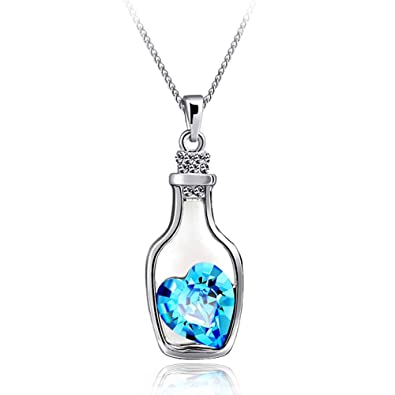 SORELLA'Z Blue Crystal Love Drift Bottle Pendant Necklace for Women