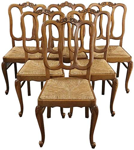 EuroLuxHome Dining Chairs Louis XV Rococo Vintage 1950 French Oak Cane Rattan Set 6