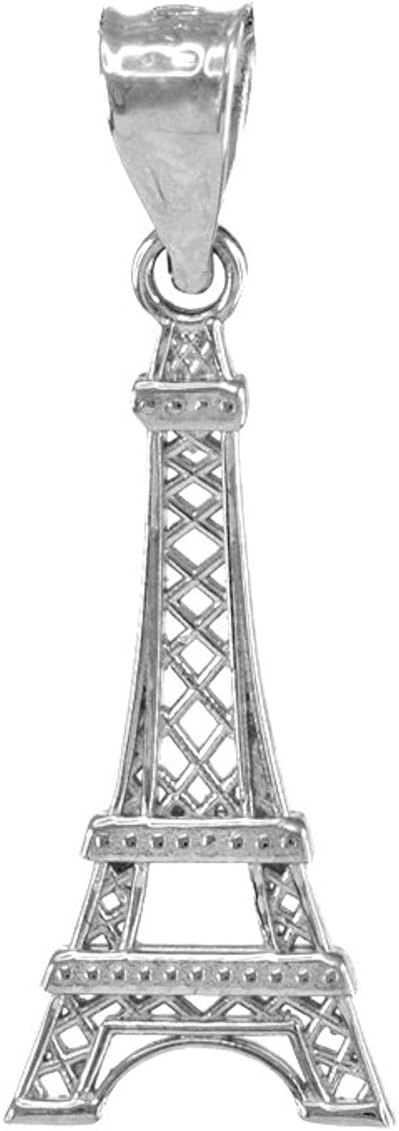 Handmade Jewelry. Eiffel Tower Charm Necklace in Silver with Saffron Red Crystal and Fresh Water Pearl