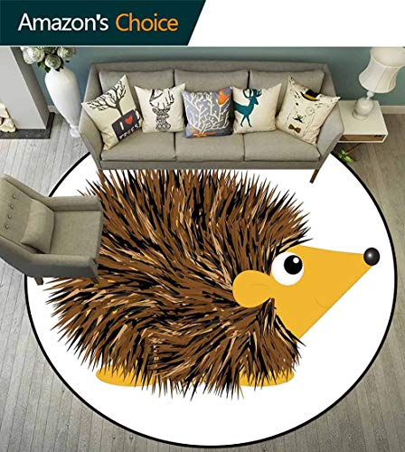 Hedgehog Round Rug Grip,Cartoon Animal with a Happy Smile on Its Face Hedgehog Illustration Spikes Non Slip Absorbent,Brown Earth Yellow,D-70