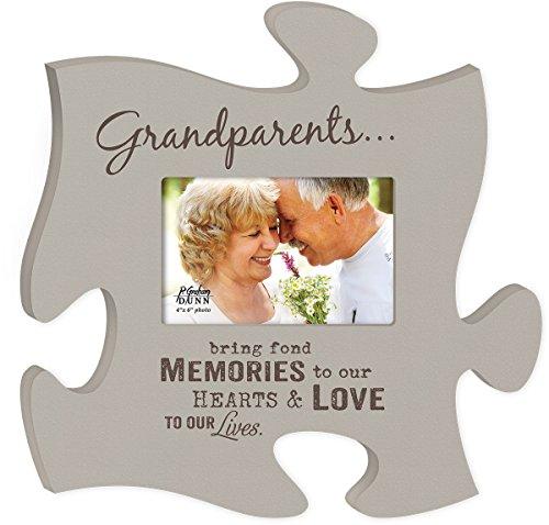 P. Graham Dunn Grandparents Bring Fond Memories Grey 4x6 Photo Frame Inspirational Puzzle Piece Wall Art Plaque