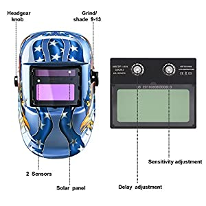 Welding Helmet Auto Darkening Solar Powered Hood with Adjustable Shade Range DIN 4/9-13 for Mig Tig Arc Welder Mask by ZUISU SHOP
