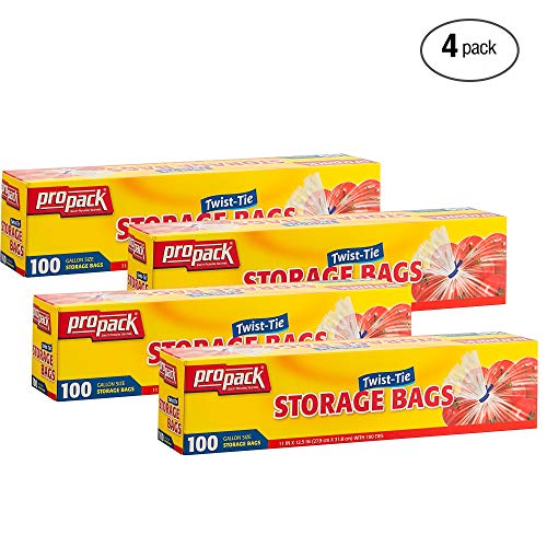 Propack Clear Disposable Plastic Twist & Tie Gallon Size Storage Bags, Great Use for Every Day Snacks, Sandwiches, Fridge Or Freezer, 4 Pack (400 ()
