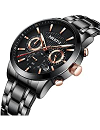 Men's Watches Stainless Steel Watches Military Quartz Wristwatches Date Casual Wrist Watch with Black Dial