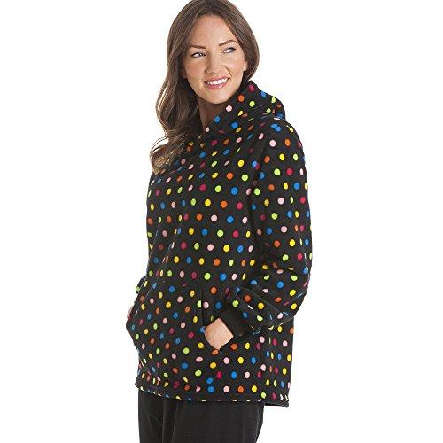 Camille fleece Mochila negra multi polka dot Imprimir pijama conjunto NEGRO