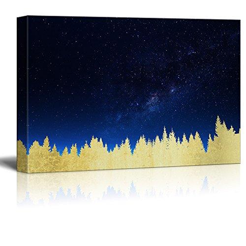 Print Golden Forest Under The Milk Way at Night