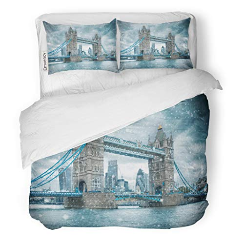 Emvency Decor Duvet Cover Set King Size Blue Snow Tower Bridge in London United Kingdom During Snowstorm Winter 3 Piece Brushed Microfiber Fabric Print Bedding Set -