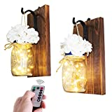 CALATOUR Mason Jar Decor Wall Sconce,16OZ Mason Jars,20 LED Lights with Remote Control,Wrought Iron Hooks,Wood Boards,Silk Flowers(Set of 2)