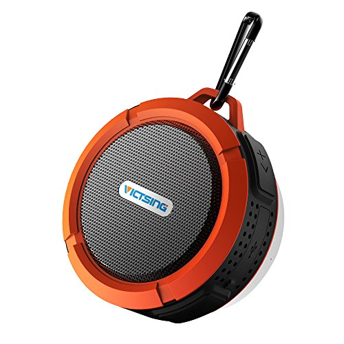 VicTsing Shower Speaker, Wireless Waterproof Speaker with 5W Driver, Suction Cup, Built-in Mic, Hands-Free Speakerphone - Orange