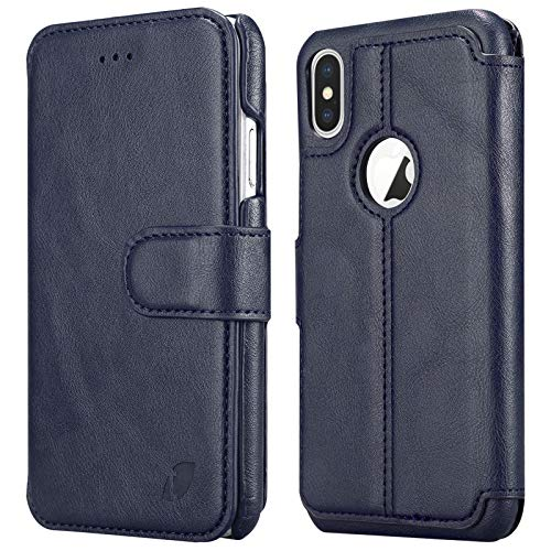 Techstudio Leather Flip Cover for Apple iPhone X/Xs  Blue